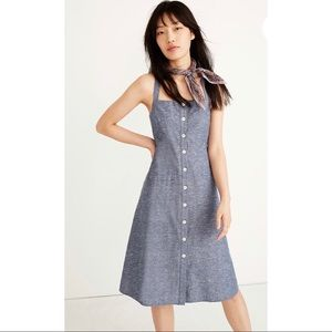 Madewell Chambray Tank Button-Front Midi Dress